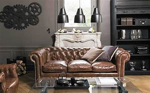 3 ambiances deco avec un canape chesterfield canapes With tapis de yoga avec canape chesterfield cuir maison du monde