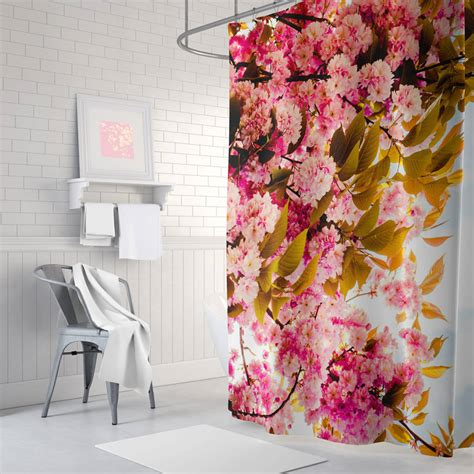 Pink Floral Shower Curtain By Ruby And B
