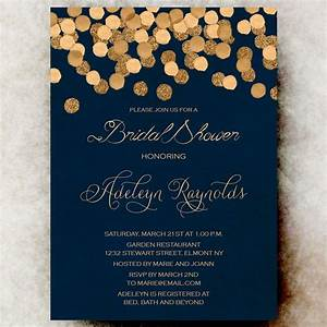 Gold glittering confetti bridal shower invitation for Rose gold winter wedding invitations