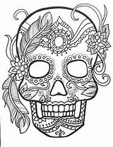 Coloring Skull Sugar Adults Dead Skulls Adult Printable Colouring Mandala Flower sketch template