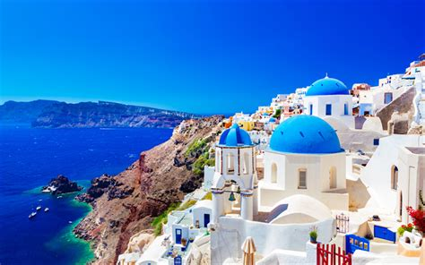Download Wallpapers Greek Island Thira Summer Santorini