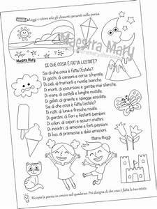 Scheda di Italiano con poesia dedicata all'estate