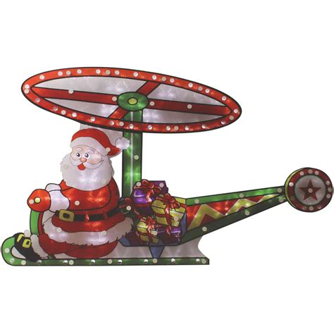 motion santa helicopter silhouette ultra bright led lights