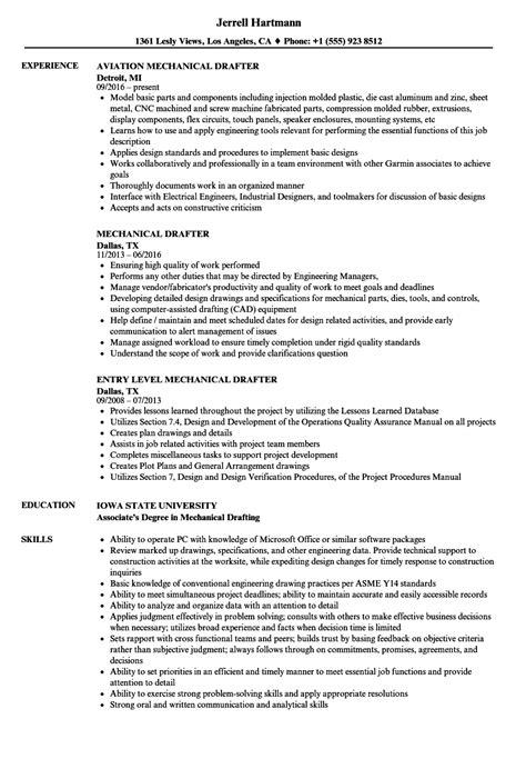Drafting Resume by Mechanical Drafter Resume Sles Velvet