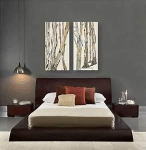 Contemporary bedroom design dark gray walls artwork zen