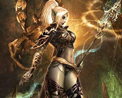 Elf Witch Dark Female Staff Magic Abstract