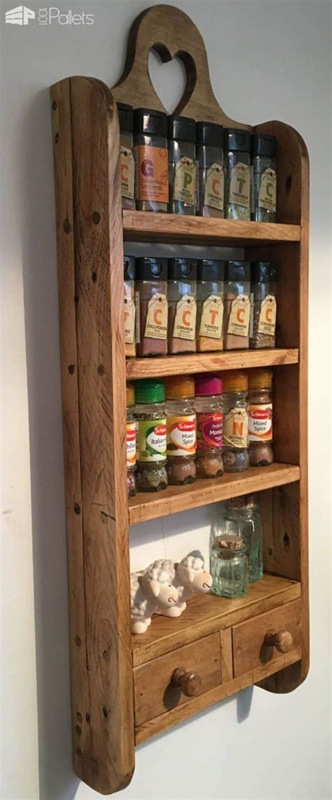 Wood Spice Racks by 2 Drawer Pallet Spice Rack 1001 Pallets