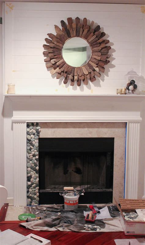 fireplace pebbles installing pebble tile in your builder basic fireplace