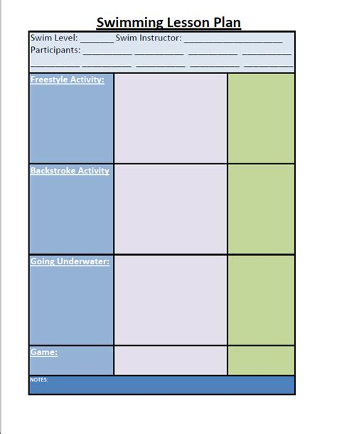 Swimming Lesson Plan Template by Swim Lesson Plan Beginner Lesson Template Swimming