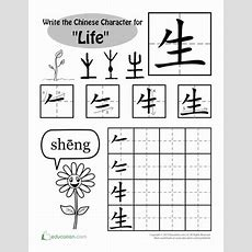 """Learning Chinese Characters """"life""""  Worksheet Educationcom"""