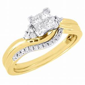 diamond wedding bridal set 10k yellow gold ladies With 10k yellow gold wedding ring set