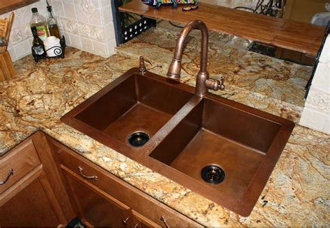 double sink granite countertop bronze kitchen sink faucets with double copper farmhouse
