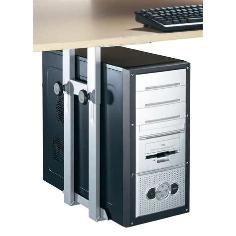 fixation pc sous bureau support de pc pour fixation sous le bureau iph002 s gris argent sur le site conrad 775486