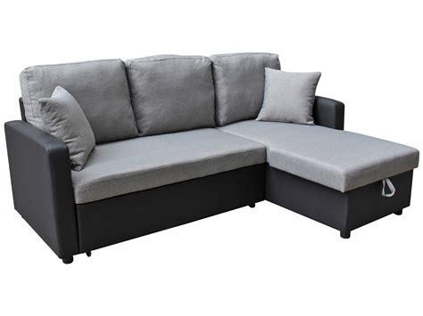 canap 233 d angle tissu convertible quot allen quot 4 places gris et noir 69669 69670