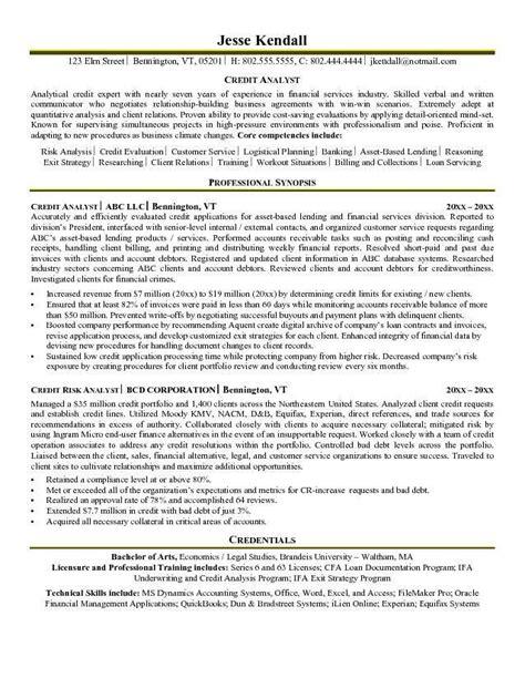 Credit Analyst Resume by Credit Analyst Resume Exle Resume