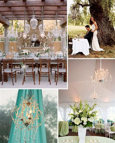 modern rustic chandeliers in trees tents green