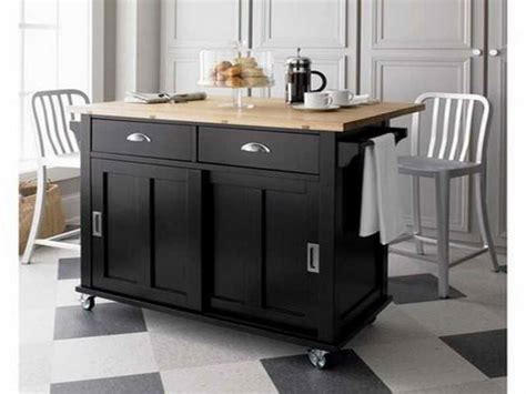 black kitchen islands with wheels and chair decoration