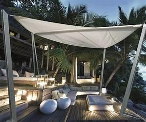 Toile Extérieure Pour Terrasse : freistehender sonnensegel auf der holz terrasse garten ~ Melissatoandfro.com Idées de Décoration