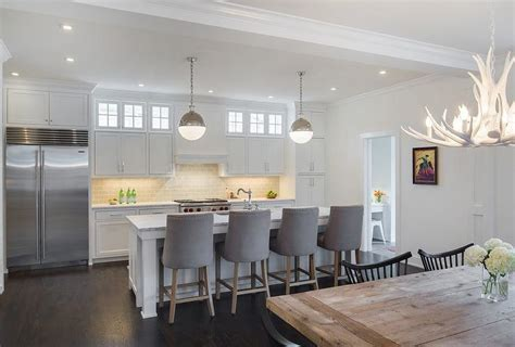 White Kitchen Island with Gray Velvet Counter Stools