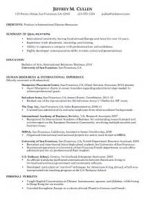 chronological resume sle international human resources