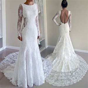 Elegant jewel long sleeves sweep train mermaid lace for Lace wedding dress with train