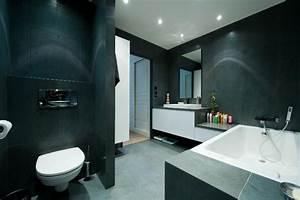salle de bain idealbagni en ardoise et blanc cree par l With architecte salle de bain