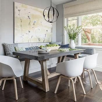 gray dining nook  salvaged wood  concrete dining