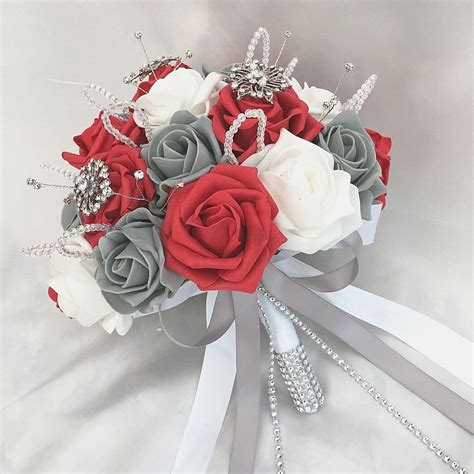Brides Posy Bouquet Red White And Grey Roses Artificial