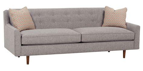 mid century fabric sofa with inset legs club furniture