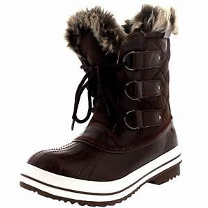 Womens Snow Boot Nylon Short Winter Snow Fur Rain Warm ...