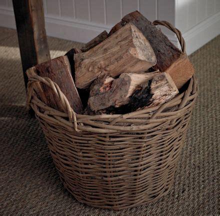 wicker log basket hessian lined store basketware