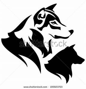 wolf profile outline and silhouette - black and white ...