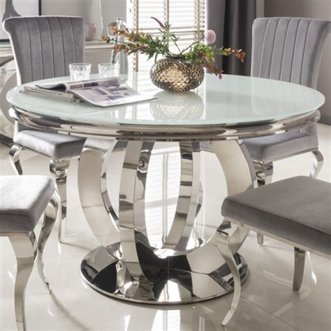 orion mirrored dining table white glass top