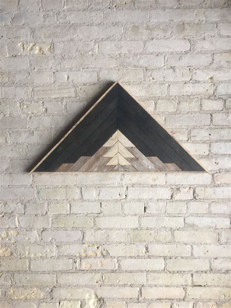 This item is unavailable | etsy. Reclaimed Wood Wall Art, Decor, Lath, Pattern, Triangle, Mountain, Black, Landscape, 33 x 17