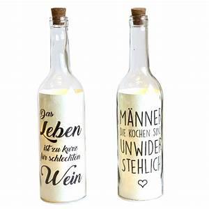 Lichterkette In Flasche : 2er set beleuchtete flasche mit led beleuchtung und spruch wohnen beleuchtung ~ Markanthonyermac.com Haus und Dekorationen