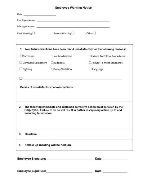 employee written warning template free 10 best images of printable warning templates employee warning notice form template free