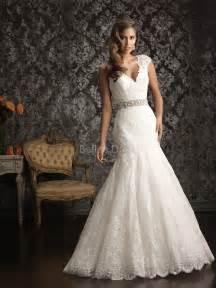 v back v neck fit n flare chapel lace wedding dress wantster - Fit N Flare Wedding Dress