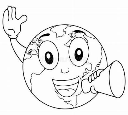 Earth Coloring Megaphone Character Megafono Terra Carattere