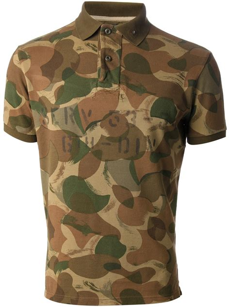 lyst polo ralph lauren camouflage polo shirt  brown