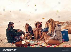 Happy Friends Partying On Beach Drinks Stock Photo ...