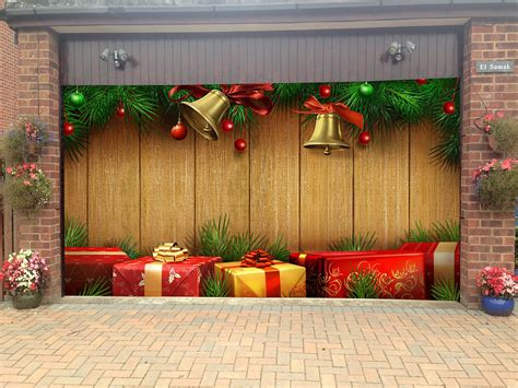 merry christmas garage door covers  banners holiday tree