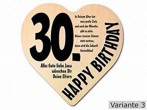 30 Dinge Zum 30 Geburtstag : geschenk zum 30 geburtstag herz holzschild mit wunschtext online geschenkeshop mit ~ Bigdaddyawards.com Haus und Dekorationen