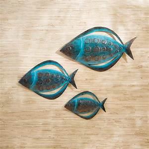 fish metal outdoor wall art set of 3 at hayneedle With fish wall decor