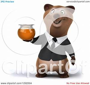 Clipart of a 3d Happy Brown Business Bear Holding a Honey ...