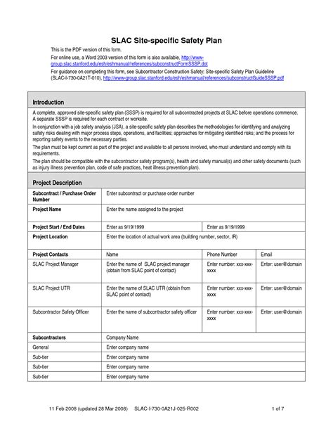 Site Specific Safety Plan Template Construction construction safety plan template jeppefm tk
