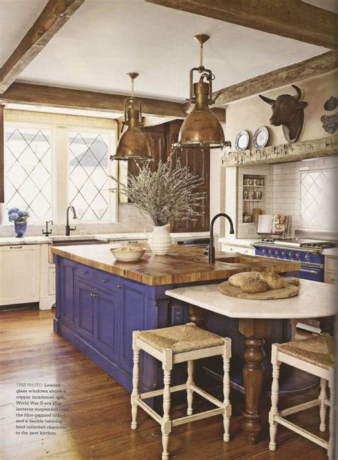 blue island and oven in country kitchen kitchens