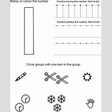 Number One Worksheet  Free Preschool Printable  Just For Ella  Preschool Worksheets, Numbers