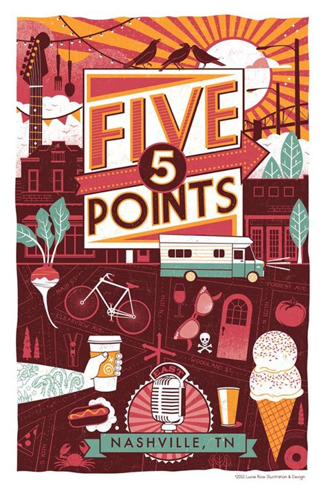 graphic design nashville tn nashville neighborhood poster series 3 five points