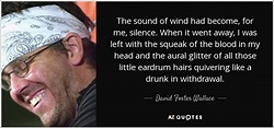 David Foster Wallace quote: The sound of wind had become ...
