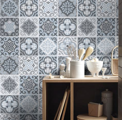 stickers pour carrelage cuisine tile stickers tile decals backsplash tile vintage blue
